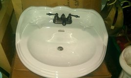 Romex Pedestal sink, base & ant brass faucet New in Chicago, Illinois